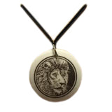 Pendant - Porcelain Circle Lion Face