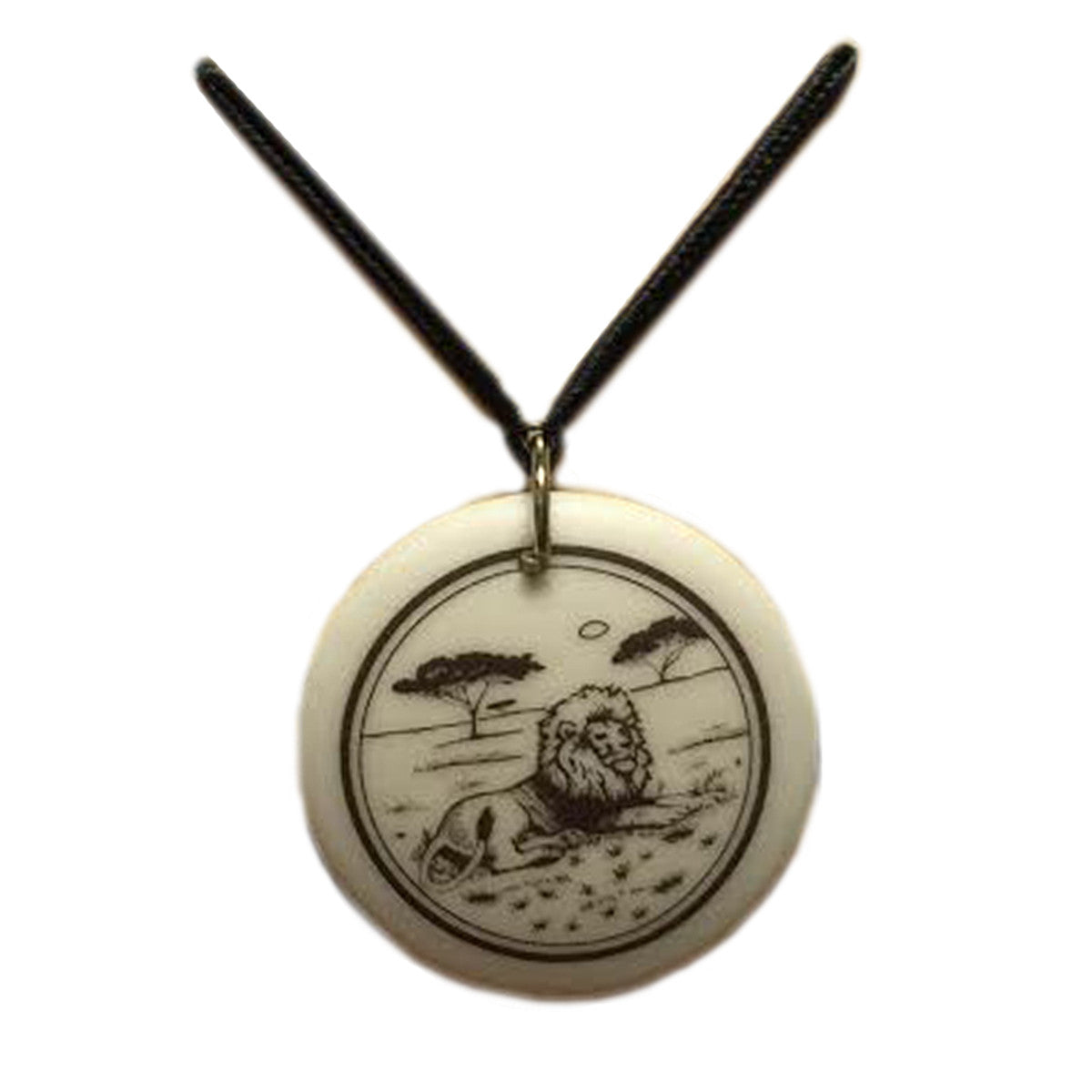 Pendant - Porcelain Circle Lounging Lion