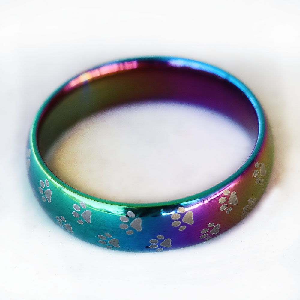 Ring - Rainbow Bridge Paw Print Ring Etched Cat Paw Prints on Iridescent Stainless Steel