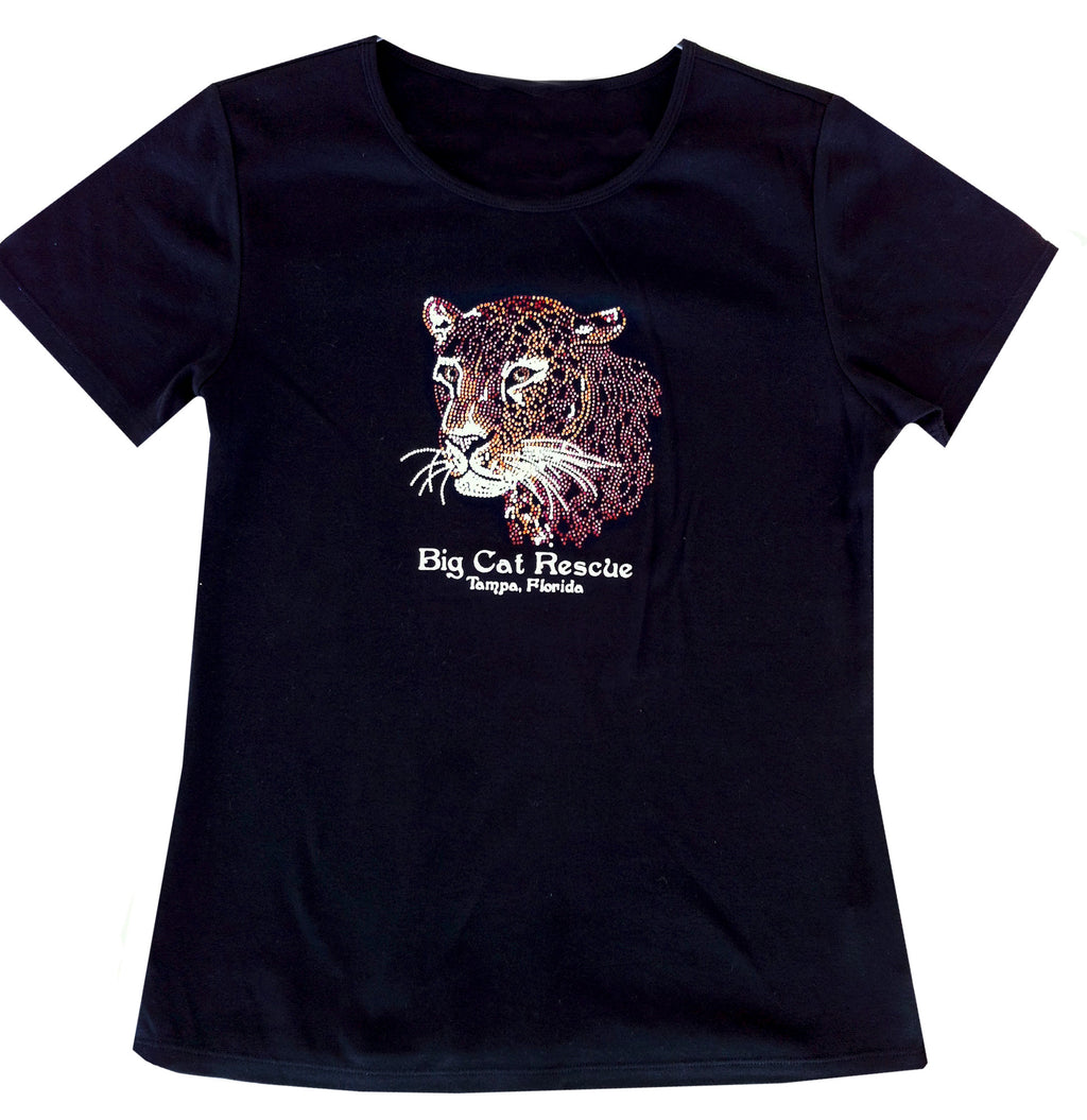 black bedazzled jeweled rhinestone leopard tee shirt
