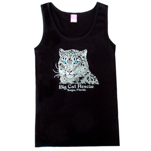 black bedazzled jeweled rhinestone snow leopard tank top