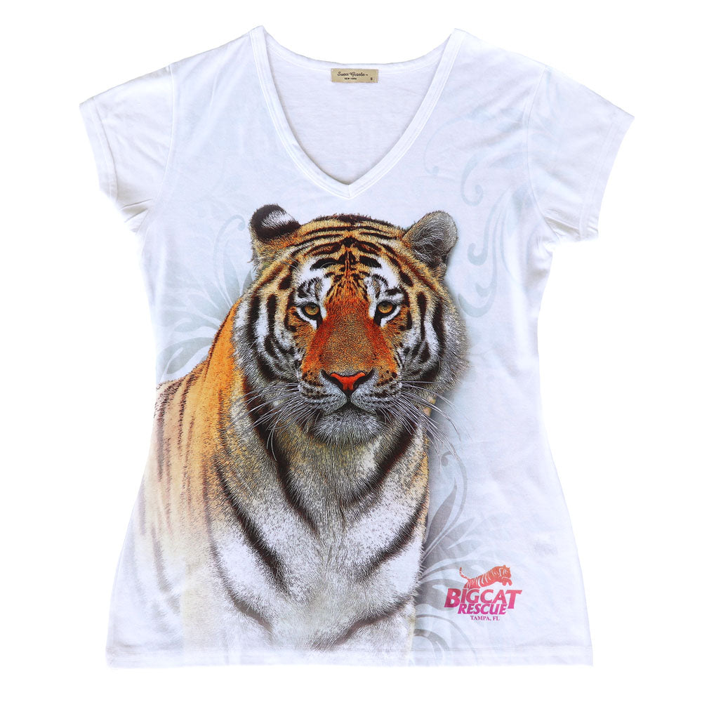 Shirt - Swirling Tiger Women's Fitted V-Neck