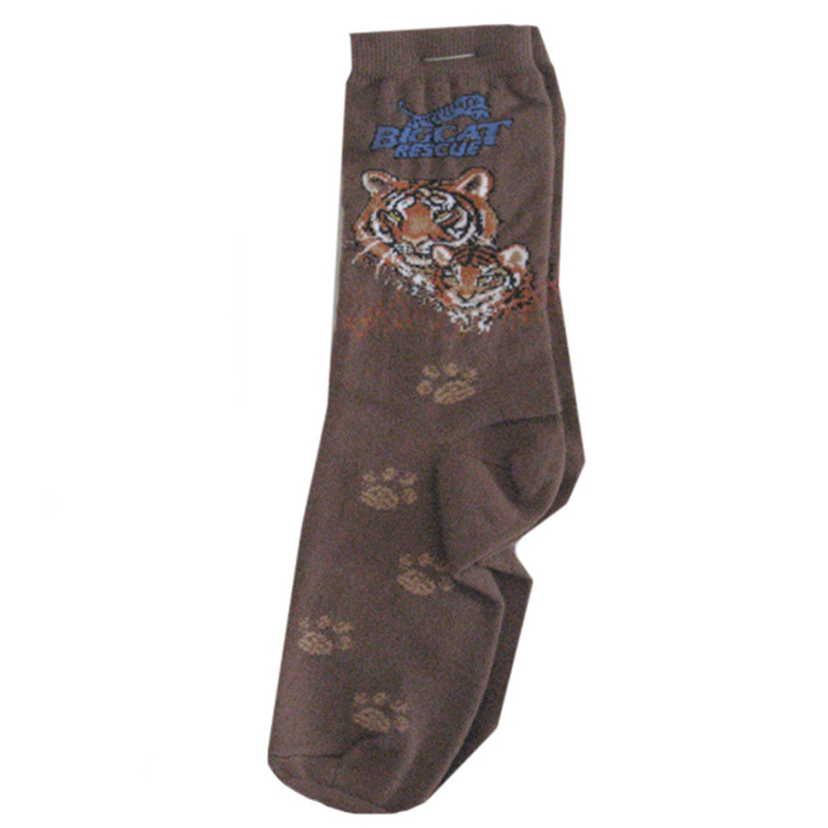 Sock - Crew Big Cat Rescue Logo Brown Tiger