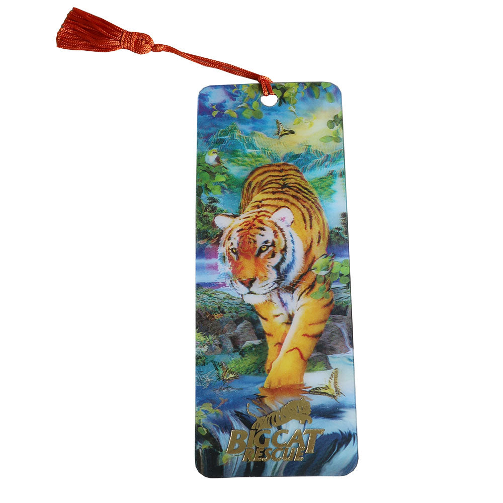 3D Bookmark - Hologram Tiger & Waterfall