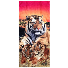 Towel - Embroidered Beach Towel Tiger Family