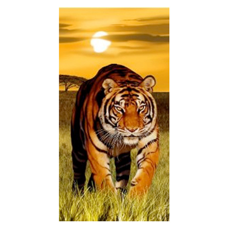 Towel - Embroidered Beach Towel Tiger Sunset