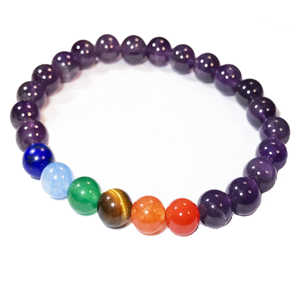 7 Chakras Healing Natural Stone Beaded Stretch Bracelet for Large Wrists