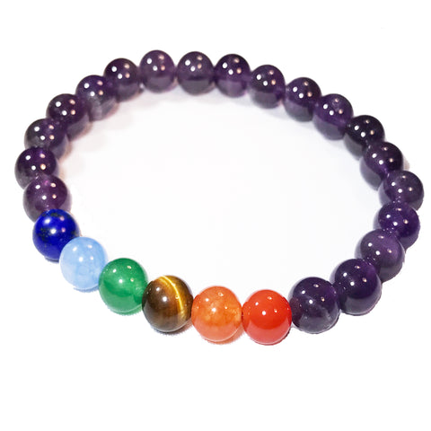 Bracelet - 7 Chakras Healing Natural Stone Beaded Stretch Bracelet