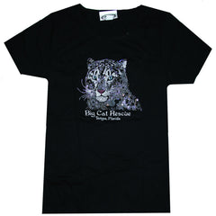 black bedazzled jeweled rhinestone snow leopard tee shirt