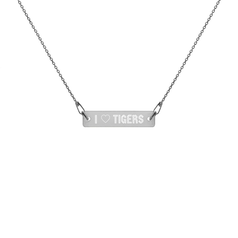 Necklace - I Heart Tigers Engraved Silver Bar and Chain