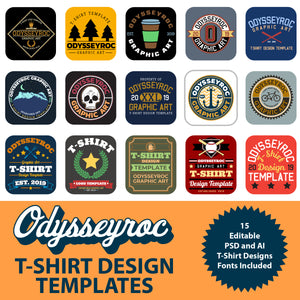15 T-Shirt Design Templates for Adobe Photoshop and Adobe Illustrator