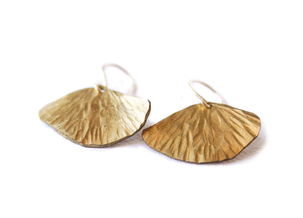 New Gold Ginkgo Leaf Earrings