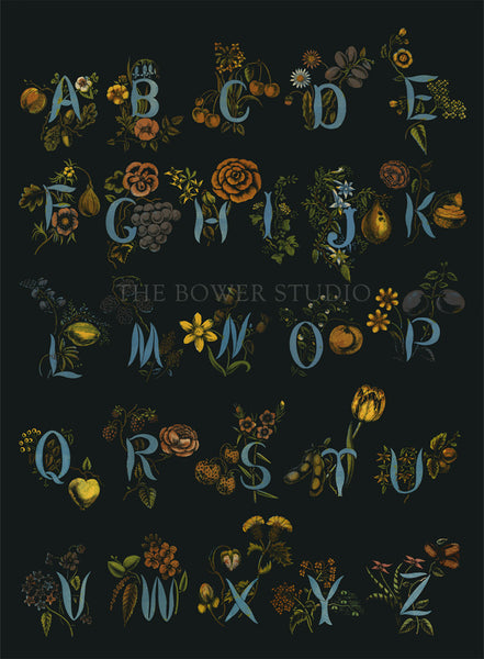 Alphabet of Flowers Canvas Wall Hanging