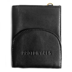 Black Leather Coin Separating Wallet (Thin)