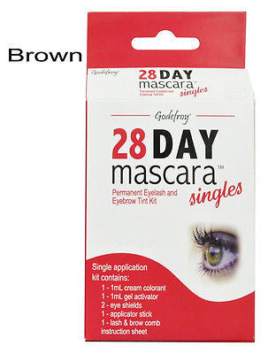 28 Day Singles Eyelash tint Mascara,  Single application kit    (brown)