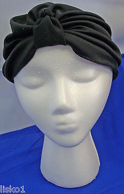 Womens 100% Cotton Turban, Chemotherapy-Cancer Head wrap, Soft, fits all (black)
