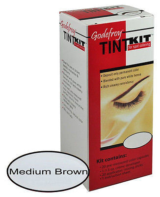 Eyebrow Tint  Kit , 20-applications, lasts 6-weeks,  (Medium Brown)