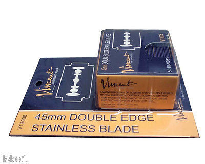 Vincent VT300B Double Edge 45mm Safety  Shaving Razor Blades, 50 - Blades