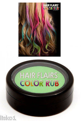 HAIR CHALK Hair Flairs Color Rub, Temporary Vibrant Fun Hair Colors   .14 oz. (green) LMS