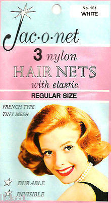 HAIR NET Jac-O-Net  #161  French Type Tiny mesh Hair Nets  w/Elastic (3) pcs  Black
