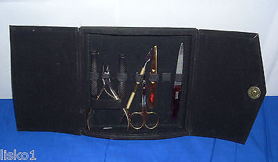 MANICURE KIT 7pc.Nail Manicure Travel Tool set, Stainless Gold Finish w/ Sturdy case  LMS