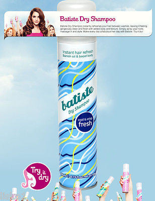 DRY SHAMPOO BATISTE (FRESH) Dry Shampoo, Instant hair Refresher for all hair types,  6.7 oz.