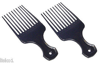"AFRO PICKS 5-1/4""  Black Plastic Afro Hair Lifting Pik-Pick , Teaze - Comb  (2- piks)"