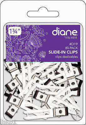 HAIR CLIP DIANE #D19 Slide-In clips for styling,  80 pack, nickel plated, double prong