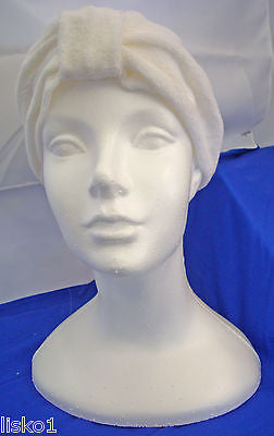 Womens Terry Cloth Turban, Chemotherapy-Cancer Head wrap, Soft, fits all (white)