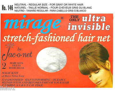 HAIR NET Jac-O-Net  #146 Mirage Hair Net - for gray or white hair   (2) pcs  Neutral