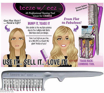 teeze w/ eez Tease Back Hair Combing Tool, From Flat to Fabulous Hair  GREY