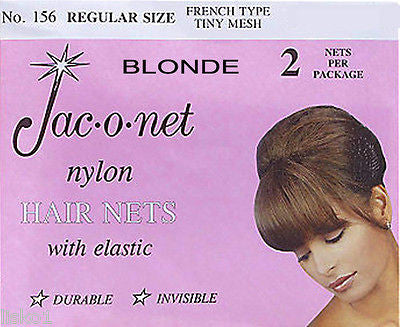 HAIR NET Jac-O-Net  #156  French Style  Invisible Hair Net  w/Elastic (2) pcs.   Blonde