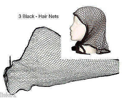 HAIR NET Cotton Triangle Hair net, Keep Hair Rollers in place,  Black - 3 pcs.    LMS
