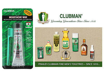 Clubman Pinuad Men's Moustache Wax  (CHESTNUT BROWN)  1/2 oz.