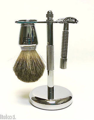 Scalpmaster SB-19 Chrome Shaving set, 100% Badger Bristle+1-5pk dorco blades