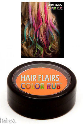 HAIR CHALK Hair Flairs Color Rub, Temporary Vibrant Fun Hair Colors   .14 oz. (orange) LMS