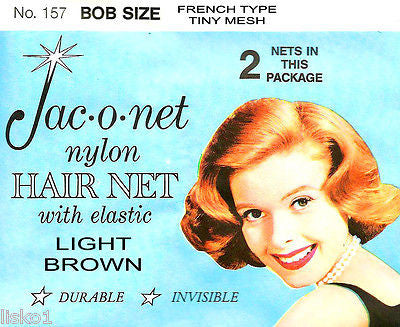 HAIR NET Jac-O-Net  #157  Bob Size French type Hair Net  w/Elastic (2) pcs.  Light Brown