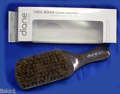 "HAIR BRUSH DIANE  #8118 _8-ROW 7"" Extra firm boar bristle wood handle hair club brush"