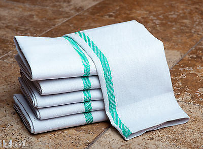 "BARBER TOWELS 15"" x 26"" Herringbone Barber Salon Towels Green Stripe 100% Cotton - 1 Doz (12)"