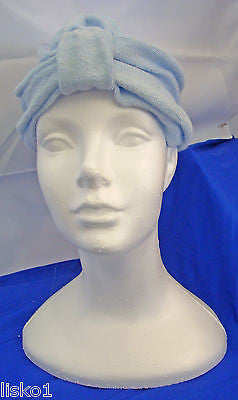 Womens Terry Cloth Turban, Chemotherapy-Cancer Head wrap, Soft,  (baby blue)