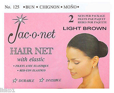 HAIR NET Jac-O-Net  #125  w/Elastic Chignon Invisible Hair Net (2) pcs. Light Brown