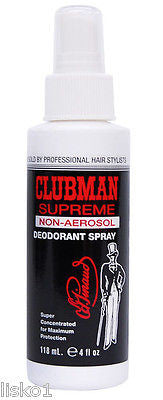 Clubman Supreme non-aerosol Deodorant Spray , will not stain,   4oz.