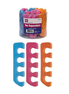 TOE SEPERATORS  DL#DL-C227 FOAM PEDICURE SPA TOE  NAIL POLISH SEPERATORS, (assorted colors)