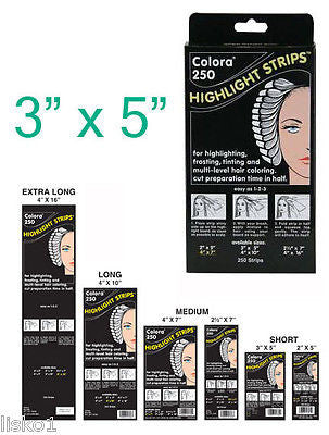 HIGHLIGHT FOIL COLORA HAIR COLORING HIGHLIGHT-TINTING  STRIPS 3 X 5     1-Pack of 250