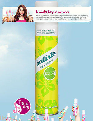 DRY SHAMPOO BATISTE (TROPICAL) Dry Shampoo, Instant hair Refresher for all hair types, 6.7oz