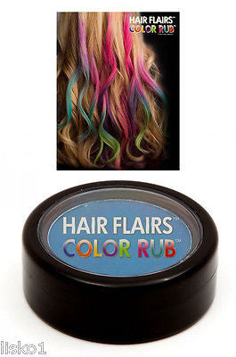 HAIR CHALK Hair Flairs Color Rub, Temporary Vibrant Fun Hair Colors   .14 oz. (blue) LMS