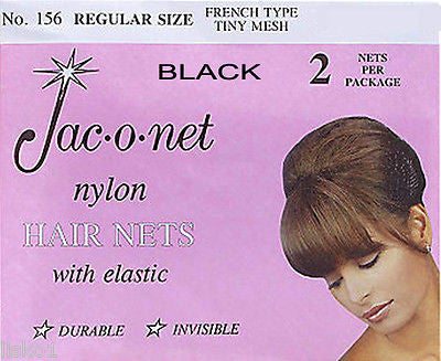 HAIR NET Jac-O-Net  #156  French Style  Invisible Hair Net  w/Elastic (2) pcs. Black