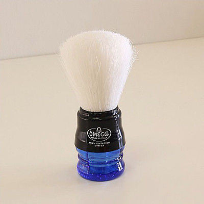 Omega Syntex 100% Synthetic Fiber Shave Shaving Brush with Plastic handle (BLUE)