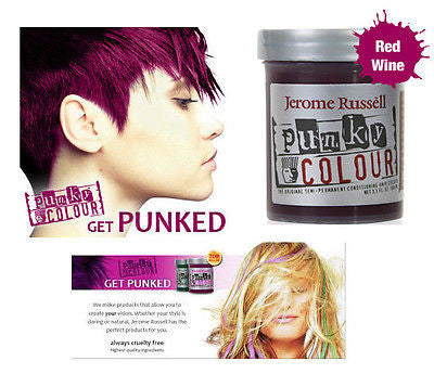 Jerome Russell Punky semi-permanent conditioning hair color,  3.5 oz.(red wine )