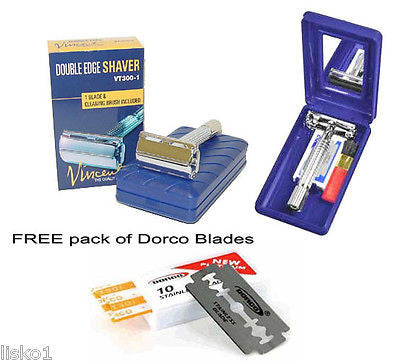 "Old fashion Safety Shaving Razor 4"" handle,Travel case+mirror - 5pk dorco blades"